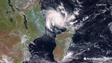 Satellite imagery captures Tropical Cyclone Kenneth as it nears Mozambique