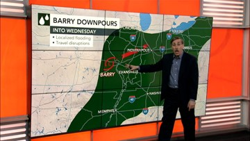 Barry moves across mid-Atlantic Wednesday then heat wave for the end of the week