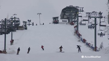 Snowboarders and skiers hit the slopes after some early winter weather
