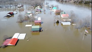 Hardin County homes entirely submerged in floodwaters