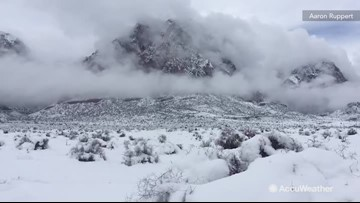Breathtaking view of snowstorm from Red Rock Canyon