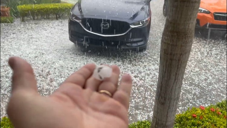 Hail of all sizes pours down across Florida