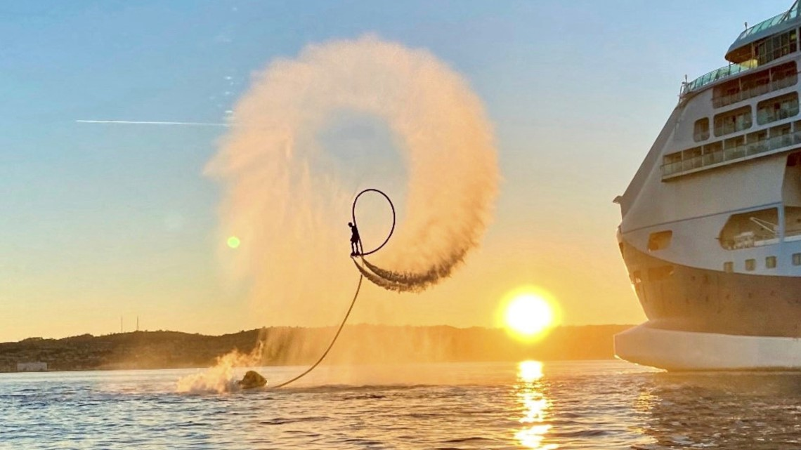 Must See! Adrenaline Junkie Puts on Incredible Flyboard Show Aside Cruise Ship
