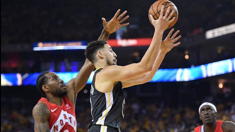 Klay Thompson and Kawhi leonard Finals Warriors Raptors Basketball