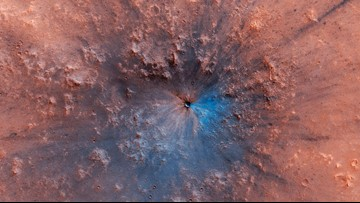 This colorful crater on Mars may be only a few months old