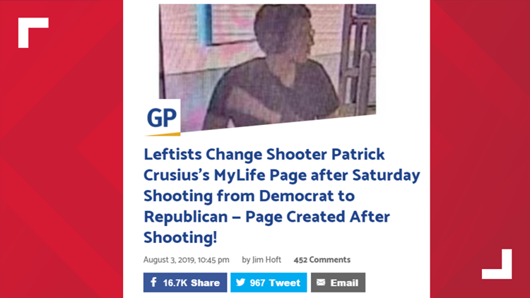 False claims about shooters' politics