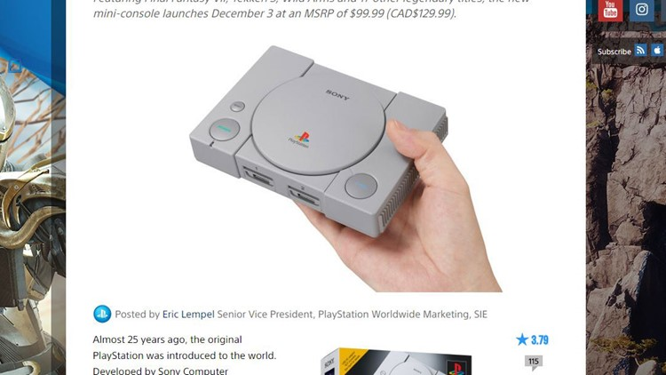Sony announced Tuesday a mini version of its landmark console will come pre-loaded with 20 games