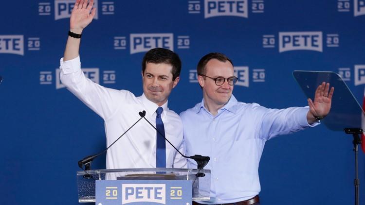 Pete Buttigieg and Chasten at presidential announcement