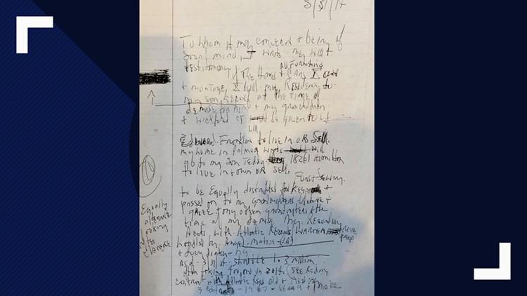Aretha Franklin handwritten will photo