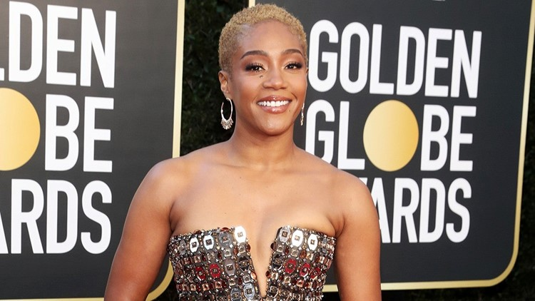 Tiffany Haddish Is Glamorous in Embellished Gown at 2021 Golden Globes