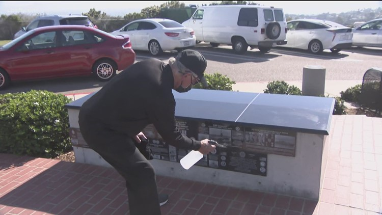 Navy veteran washes every wall and plaque at Mt. Soledad National Veterans Memorial, 6 days a week
