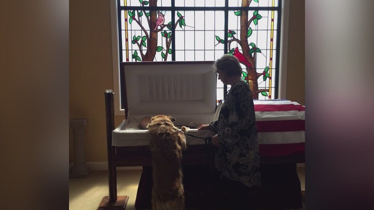 'They bonded; they belonged together' | Dog leans into casket to tell 'Daddy' goodbye