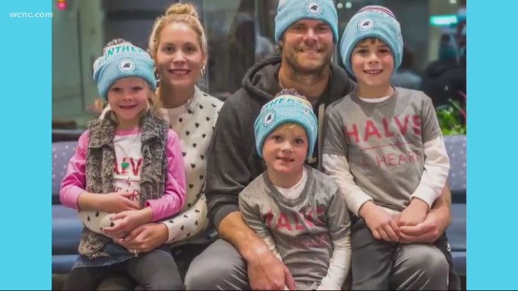Former Panthers tight end's son TJ rings the bell after getting a new heart