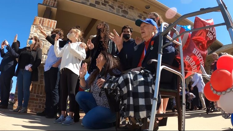 Family, community celebrates WWII veteran's 100th birthday with 100-vehicle parade in Texas