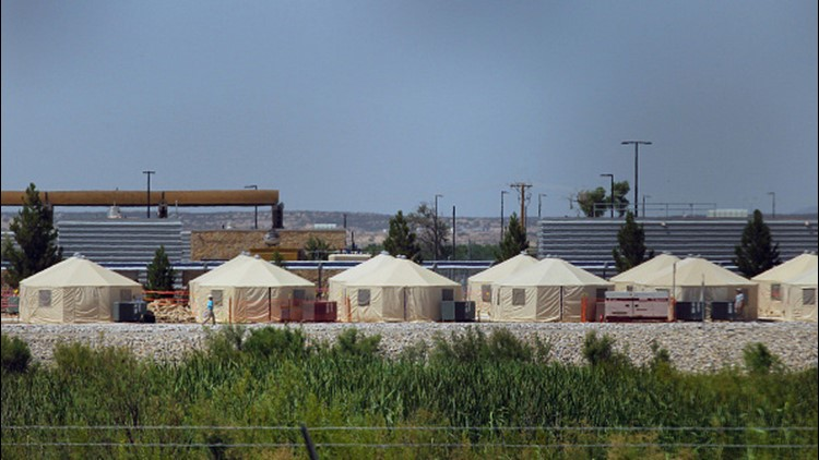 View of a temporary detention centre for illegal underage immigrants in Tornillo, Texas, US near the Mexico-US border, as seen from Valle de Juarez, in Chihuahua state, Mexico on June 18, 2018.
