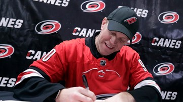The ultimate example of 'that's hockey baby!' | Canes' emergency goalie becomes honorary North Carolinian