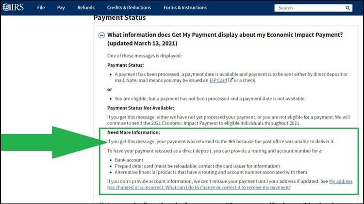 The IRS 'Get My Payment' portal tells you your stimulus payment status
