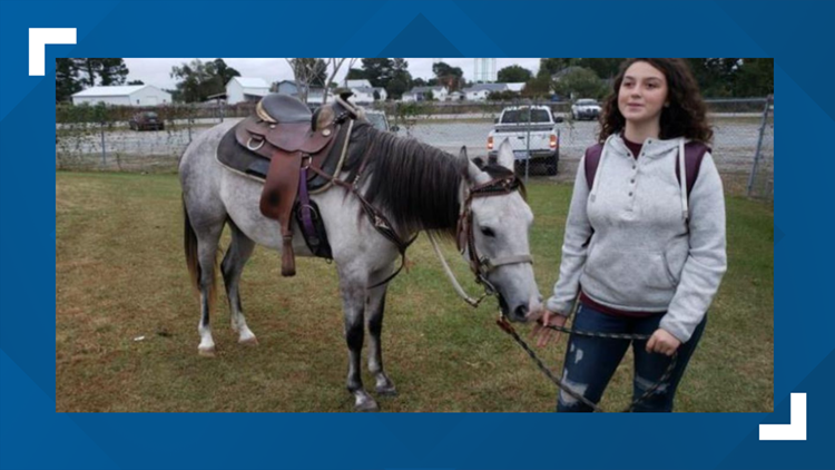 After she missed the bus, this student rode her horse to school