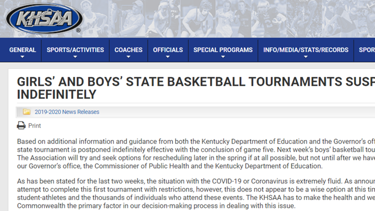 KHSAA, IHSAA suspends boys' and girls' state basketball tournament indefinitely