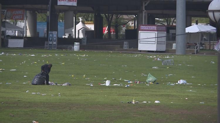 Man cleans trash Waterfront Park