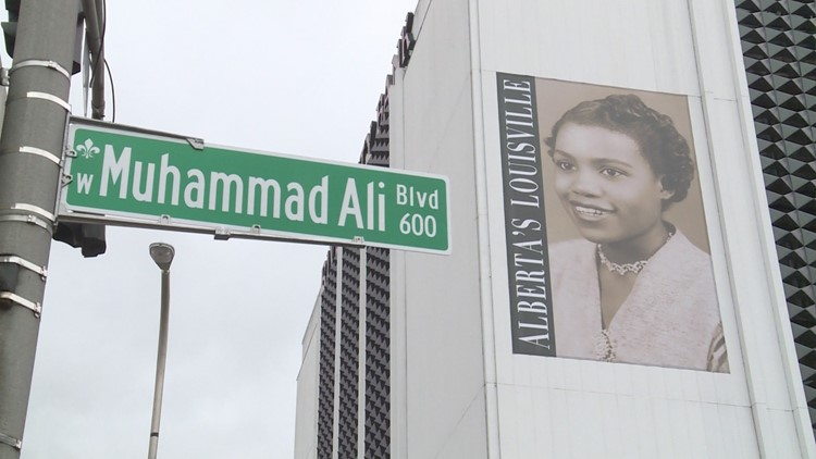 Alberta's Louisville sign hangs in the 600 block of Muhammad Ali Boulevard decades after her death.