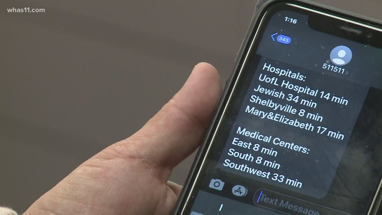 UofL Health testing text to find out how long your ER wait is for nonlife-threatening emergencies