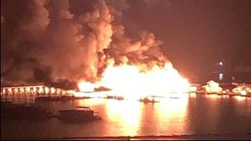Large fire damages Lake Cumberland marina