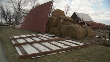 Barn blown apart after strong winds in Indiana
