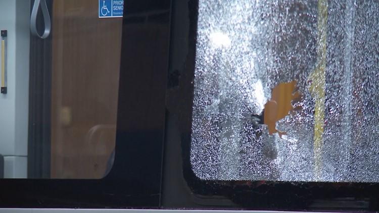 Bullet hole in TARC bus window