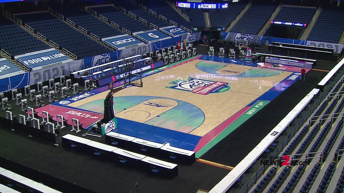 2021 Women's ACC Tournament: Crews put finishing touches on the court at Greensboro Coliseum