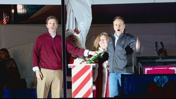 Bevin, Beshear appear together for Christmas tree lighting at Capitol