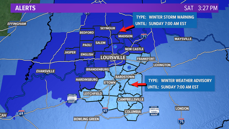 Louisville & S Indiana included in a Winter Storm Warning