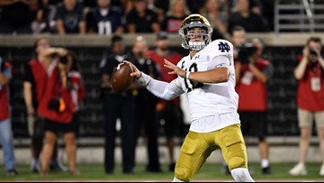 Errant pass thrown by Notre Dame QB breaks Ladybird's nose