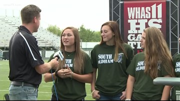 Ben talks with South Oldham softball team at HS GameTime