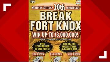 Husband, wife win $3M off of Kentucky Lottery's $30 scratch