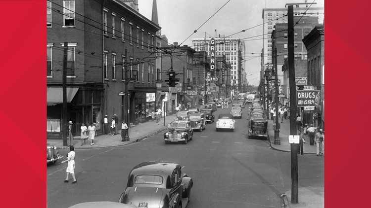 A view of Louisville's old Walnut Street in the late 1950s