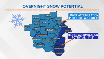 Snow accumulations for the Friday morning drive!