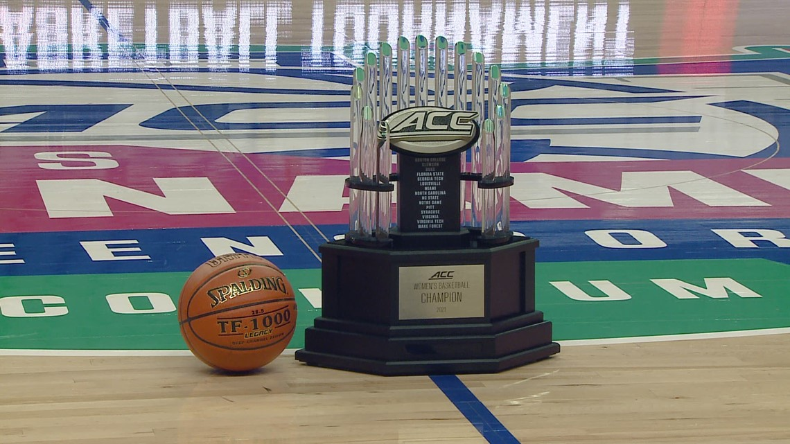 The 2021 Women's ACC Tournament Championship trophy