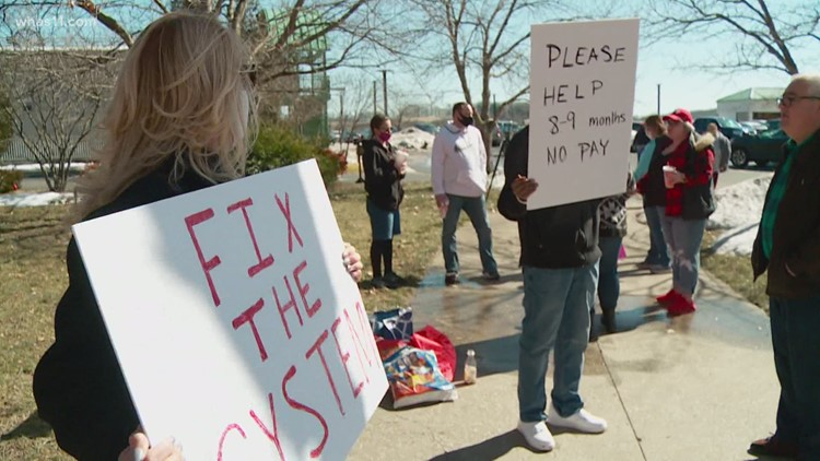 Year later: Same unemployed Kentuckians protest at state Capitol, want broken system fixed