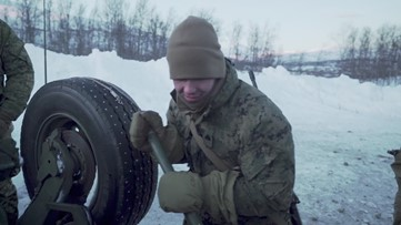 US Marines live-fire range training in Norway