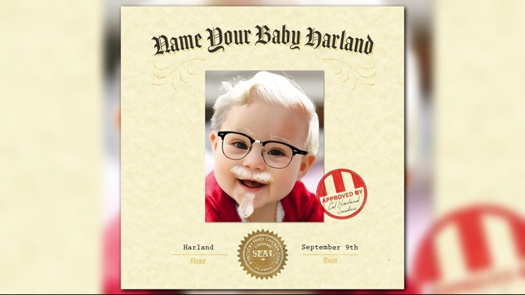 KFC contest giving $11K to parents who name baby 'Harland'