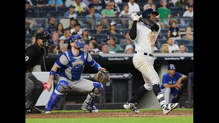 Didi Gregorius hit a solo homer with the Yankees down 5-0 in the sixth inning. It was 8-1 in the seventh before Gregorius and Giancarlo Stanton homered and Miguel Andujar launched a grand slam.