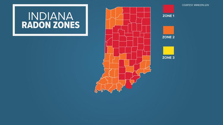 Indiana Radon Zones map