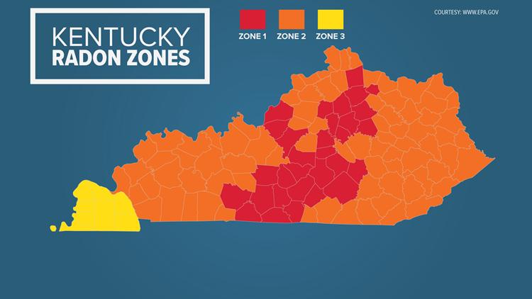 Kentucky EPA Radon Map