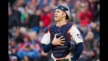 Mauer doubles, catches in emotional likely finale with Twins