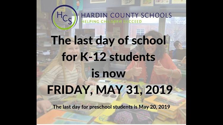 Hardin County Schools Change Last Day of School Date