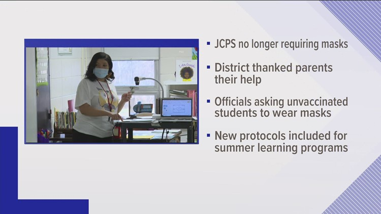 JCPS no longer requiring masks after mandate lifted