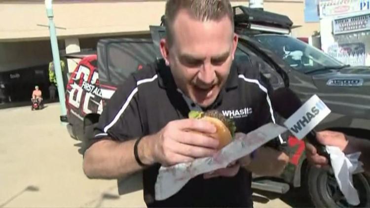 T.G. tries the Doughnut Burger