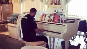 Police officer plays piano during call to assist elderly couple