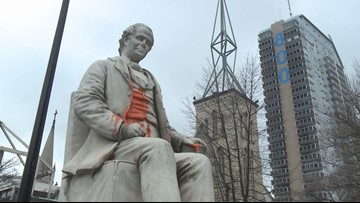 George Prentice statue removed, put in storage